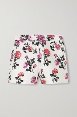 Valentino Metallic Silk-blend Brocade Shorts - White