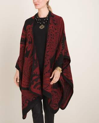 Chico's Chicos Red and Black Paisley Jacquard Blanket Ruana Wrap