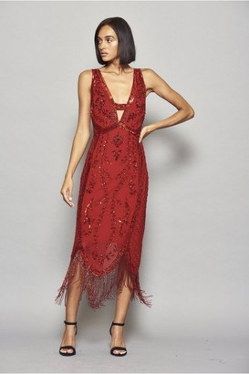 Frock and Frill Ilana Embellished Cross Back Flapper Dress with Fringing