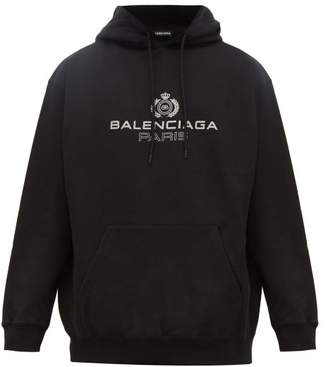 Balenciaga Crest Logo Print Cotton Hooded Sweatshirt - Mens - Black