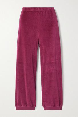 SUZIE KONDI Stretch Cotton-blend Velour Track Pants - Magenta