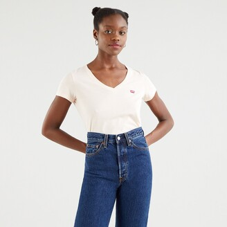 Levi's Cotton Logo T-Shirt with V-Neck and Short Sleeves