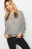 boohoo Petite Off The Shoulder Waffle Knit Jumper