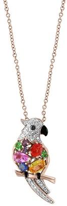 Effy 14K Rose Gold, Diamond, Sapphire, Emerald, Citrine Black Onyx Parrot Pendant Necklace
