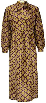 Asneh Stella Green Printed Silk Dress