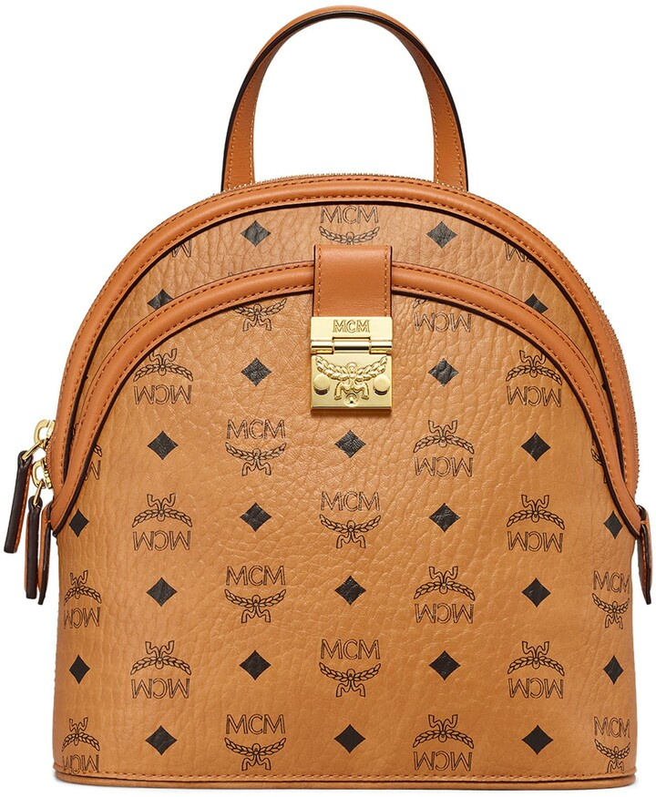 MCM Small Anna Visetos Canvas Convertible Backpack