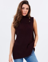 Oasis Button Detail Rib Cowl Neck Top