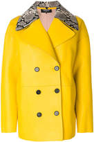 Rochas python collar coat