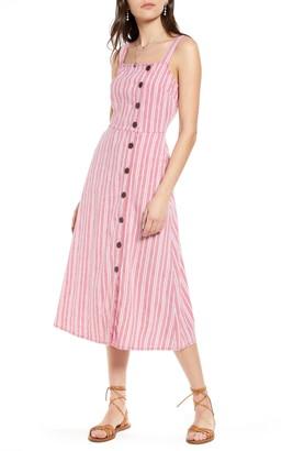 Treasure & Bond Asymmetrical Button Linen Blend Midi Dress