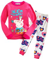 LEMONBABY® Girls Cute Peppa Pig Cotton Long Sleeve Pants Pajamas Sets (6y, )