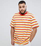 Puma PLUS Organic Cotton T-Shirt In Retro Stripe In Orange Exclusive To ASOS