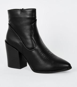 New Look Block Heel Pointed Western Boots