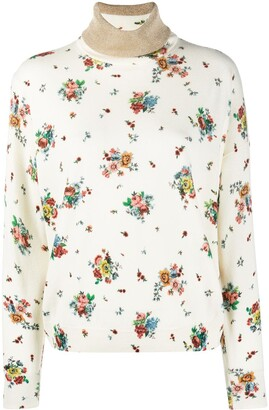 Paco Rabanne Floral-Print Roll Neck Sweater