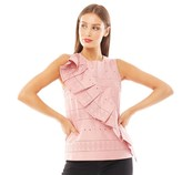 Ted Baker Womens Forelli Ruffle Front Embroidered Sleeve Top Dusky Pink