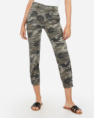 Express High Waisted Straight Cropped Cinched Hem Camo Pant