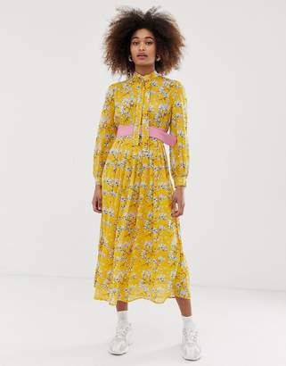 Sister Jane belted midi dress with pleated skirt in bright vintage floral-Yellow
