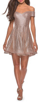 La Femme Sequin Off-the-Shoulder Short Fit-&-Flare Dress