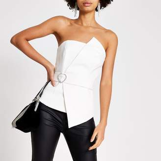 River Island Womens White diamante belted bandeau top