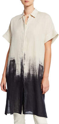 Lafayette 148 New York Plus Size Jasarah Whirlwind Ombre Linen Duster