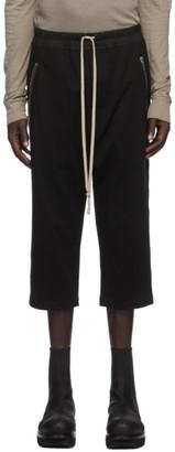 Rick Owens Black Jersey Cropped Drawstring Lounge Pants