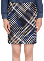 Oui Check Tweed Skirt, Dark Blue/Grey