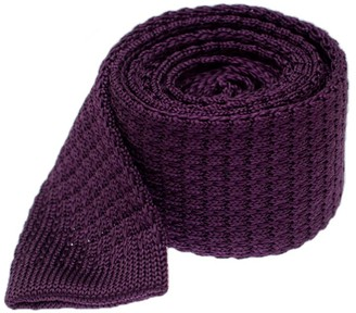 The Tie Bar Eggplant Textured Solid Knit Tie