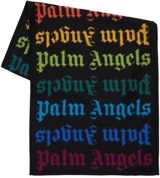 Palm Angels Rainbow Monogram Wool Blend Scarf