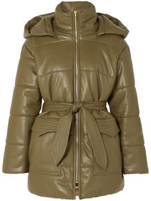 Nanushka Lenox Belted Quilted Vegan Leather Jacket