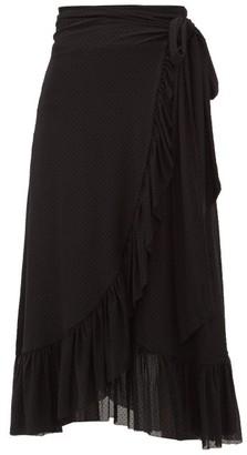 Ganni Flocked Dot-print Ruffled Mesh Wrap Skirt - Black