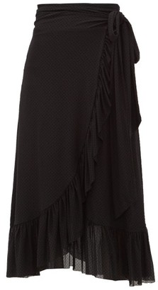 Ganni Flocked Dot-print Ruffled Mesh Wrap Skirt - Womens - Black