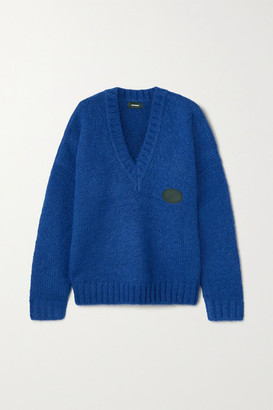 we11done Oversized Appliqued Knitted Sweater - Blue