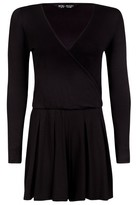 Select Fashion Fashion Womens Black Jersey Ls Wrap Playsuit - size 6
