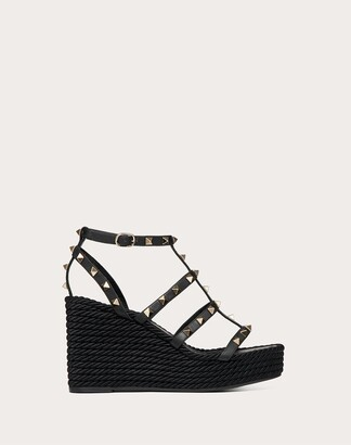 Valentino Rockstud Ankle Strap Wedge Sandal In Calfskin Leather 95 Mm Women Black 100% Pelle Di Vitello - Bos Taurus 35