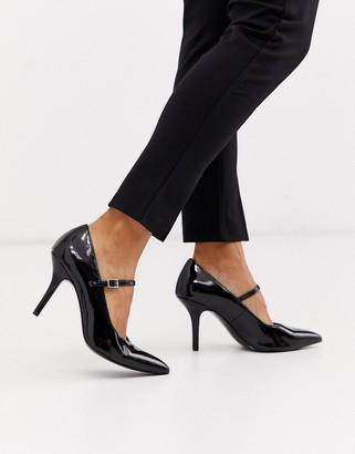 ASOS DESIGN Strallen mary-jane mid heels in black patent