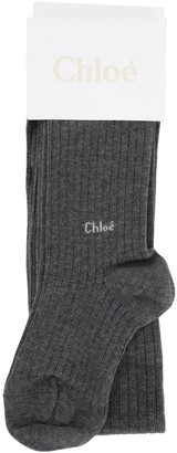 Chloé Cotton Blend Rib Knit Tights