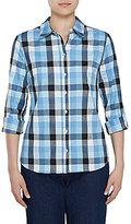 Allison Daley Long Roll-Tab Sleeve Buffalo Plaid Button Front Shirt