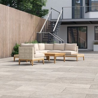 """Foundstoneâ""""¢ River Patio 5 Piece Rattan Sectional Seating Group with Cushions Foundstonea Cushion Color: Dupione Peridot"""