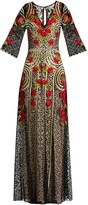 Temperley London Antilla poppy-embroidered cotton-blend lace gown
