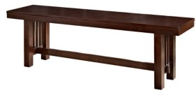 "Walker Edison 60"" Cappuccino Wood Kichen Dining Bench"