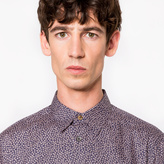 Paul Smith Men's Slim-Fit Pink 'Cactus Flower' Print Cotton Shirt With 'Artist Stripe' Cuff Lining