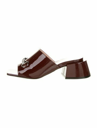 Gucci Horsebit Accent Patent Leather Slides w/ Tags