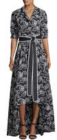 Alexis Ladda Belted Swirl-Embroidered High-Low Dress