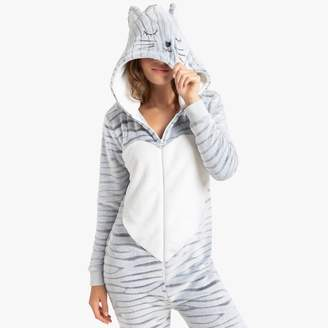 La Redoute Collections Cat Hooded Print Onesie in Amimal Print