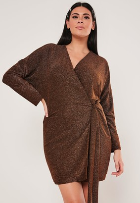 Missguided Plus Size Gold Glitter Ruched Wrap Mini Dress
