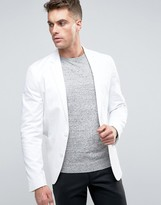 Asos Skinny Blazer in Washed Cotton In White