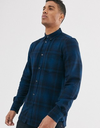 French Connection tonal flannel check shirt-Blue