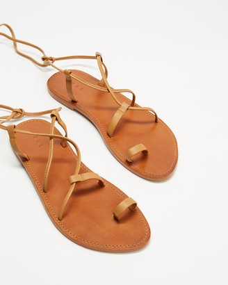 AERE - Women's Brown Strappy sandals - Ankle Tie Leather Sandals - Size 5 at The Iconic