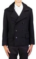 Saint Laurent Men's Virgin Wool Double Breasted Coat Jacket Black.