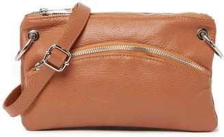 Roberta M Leather Zip Crossbody Bag