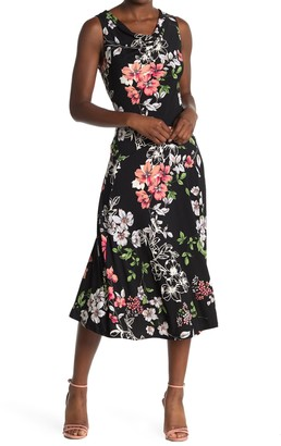 Robbie Bee Floral Sleeveless Midi Dress